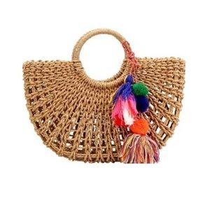 Handbags - Designer Inspired Tan Straw Beach Bags